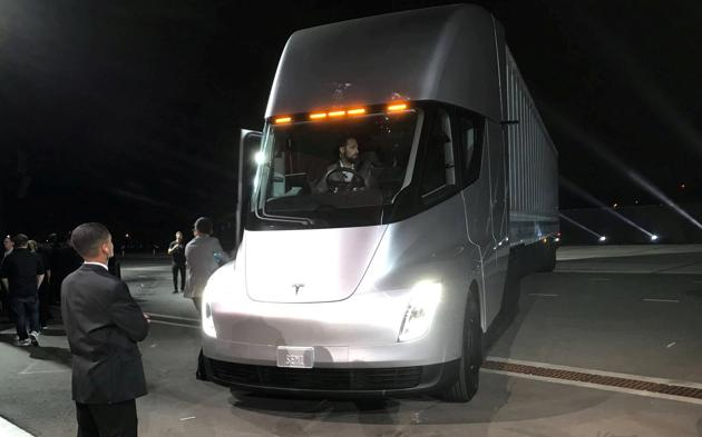 Tesla's new electric semi truck is unveiled during a presentation in Hawthorne, California, US. (REUTERS)