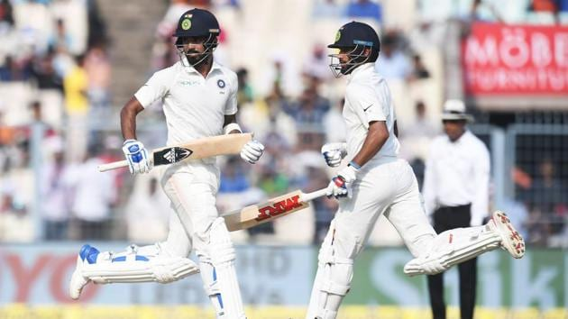 <p>KL Rahul and Shikhar Dhawan put together a 166-run stand to lead India&rsquo;s revival on Day 4 of the first Test against Sri Lanka in Kolkata. </p> (AFP)