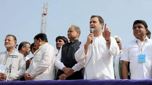 Congress vice president Rahul Gandhi during an election campaign in Gandhinagar, Gujarat.(PTI File Photo)