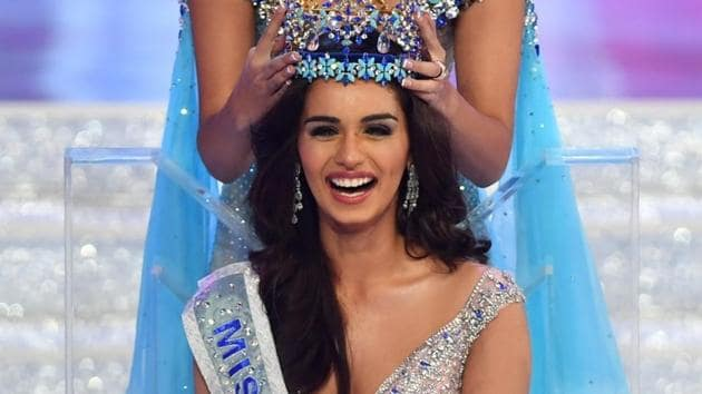 Manushi Chhillar receives the crown after winning the Miss World 2017 pageant in Sanya, China on November 18, 2017.(IANS)