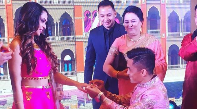 Sunil Chhetri, Indian football captain, during his engagement with Sonam Bhattacharya.(Facebook)
