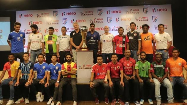 I-League teams' coaches and players during the launch of the 2017-18 edition in New Delhi on Tuesday.(AIFF)