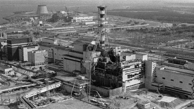 File photo of an aerial view of Chernobyl nuclear plant in Ukraine showing damage from an explosion and fire in reactor four on April 26, 1986 that sent large amounts of radioactive material into the atmosphere.(AP)
