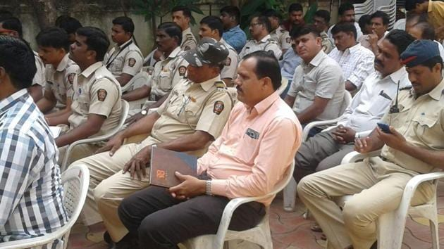 Policemen from one of the eight stations chosen for the workshop, attending a session during the Juvenile Justice Act training-cum-awareness programme on Wednesday.(HT PHOTO)