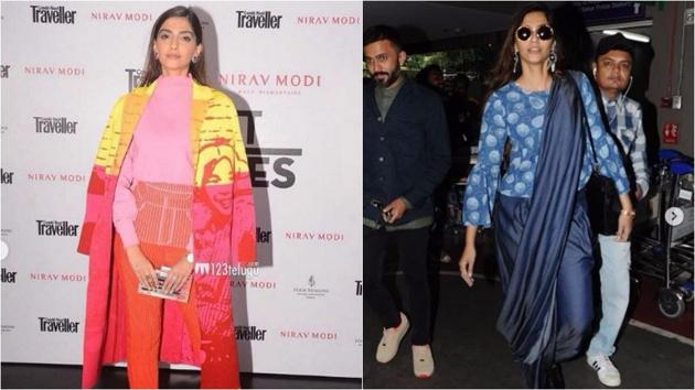 Actor Sonam Kapoor in a bright knit top with skinny knit trousers by Aussie designer Zoe Champion, on left; Sonam mixing things up with her 'denim palazzo sari', on right.(Instagram)