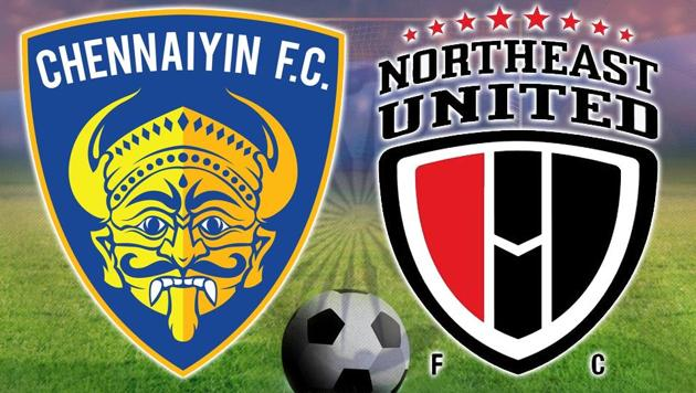 Chennaiyin FC beat NorthEast United FC in their Indian Super League 2017-18 encounter at the Jawaharlal Nehru Stadium in Chennai. Catch highlights of ISL match between Chennaiyin FC vs NorthEast United FC here.(HT Photo)