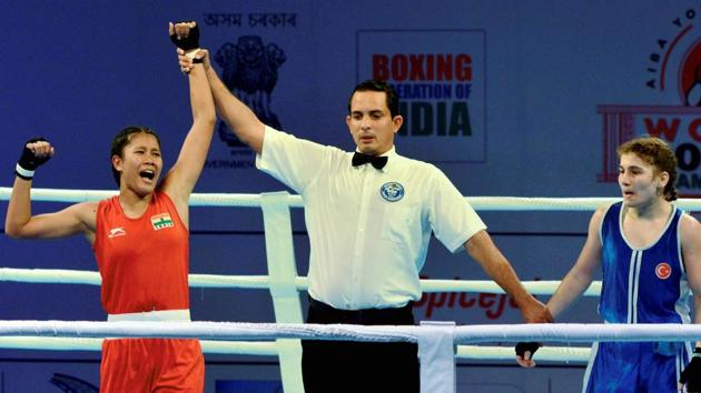 Ankushita Boro (left), from Assam, who is a local favourite, will be hoping to continue her dream run at the AIBA Women's Youth World Boxing Championships in Guwahati semifinals on Friday, where she will take on Thailand's Saksri Thanchanok.(PTI)