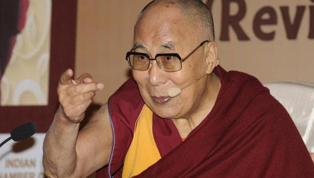 Tibetan spiritual leader the Dalai Lama attend an interactive session organised by Indian Chamber of Commerce (ICC) in Kolkata on Thursday.(Samir Jana/HT PHOTO)
