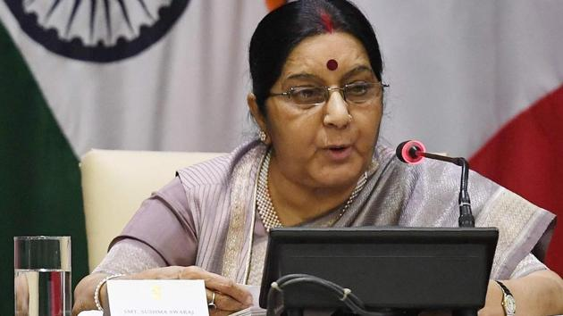 Sushma Swaraj in New Delhi on November 17, 2017.(AFP)