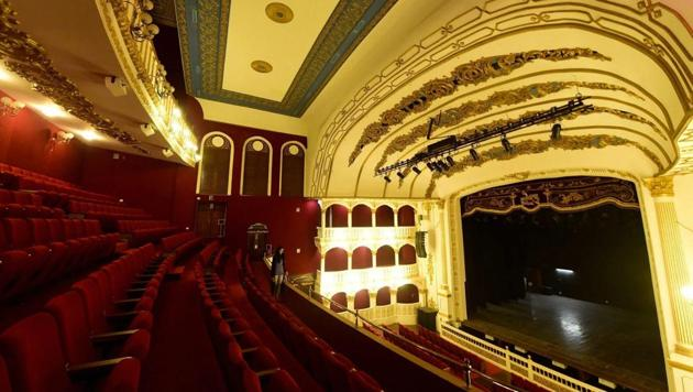 The interior of the Mumbai's Royal Opera House, which has been restored to its former glory after seven-year-long restoration. The theatre received a UNESCO-Asia Pacific award recently. PTI Photo by Santosh Hirlekar.(PTI)