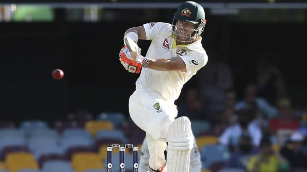 David Warner in action on Day 4 of the first Ashes Test between Australia and England in Brisbane.(AP)