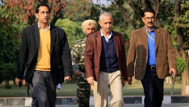 The Centre's special representative for Kashmir, Dineshwar Sharma, during his visit in Jammu on November 25.(HT Photo)