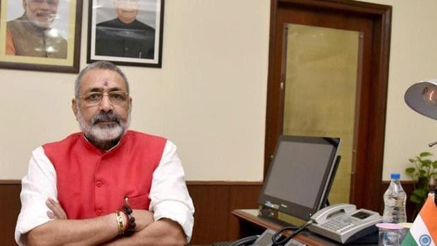 Giriraj Singh, minister of state for Micro, Small & Medium Enterprises, at his office in New Delhi.(PTI)