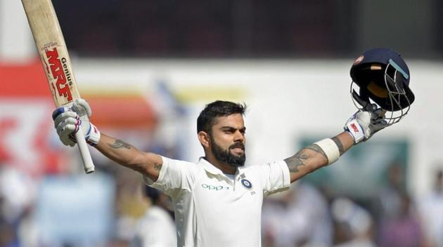 Virat Kohli slammed his fifth double century and matched the feats of Rahul Dravid and Brian Lara as India were on top against Sri Lanka in the Nagpur Test.(PTI)