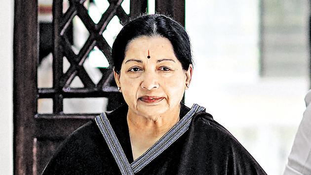 Late Tamil Nadu chief minister J Jayalalithaa.(PTI file)