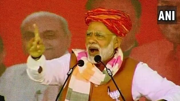 Prime Minister Modi at a rally in Gujarat on Monday.(ANI/Twitter)