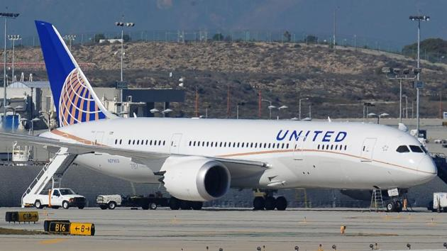 This file photo taken on January 17, 2013 shows a grounded United Airlines Boeing 787 Dreamliner sitting on the tarmac at Los Angeles International Airport.(AFP)