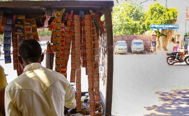 The Cigarettes and Other Tobacco Products Act bans sale of tobacco products within 100 yards of educational institutes. The 2003 Act also mandates display of signage outside schools warning against using tobacco.(HT Photo)