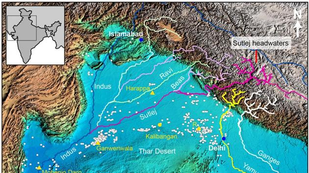 A topographic map of north-western India and Pakistan showing major Himalayan rivers and the distribution of Indus Civilisation urban settlements. (Data for map courtesy of NASA and US Geological Survey)(Courtesy: P.J. Mason/S. Gupta)