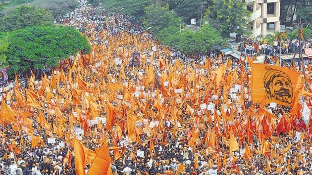 Maratha community members hold a protest rally, demanding justice in Kopardi rape and murder case in Sangli last September.(HT File Photo)