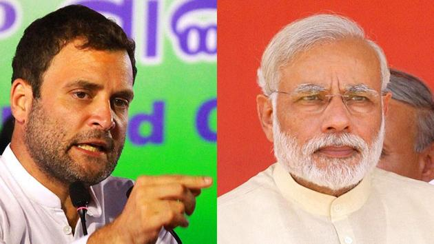 A combination photos of Congress vice president Rahul Gandhi and Prime Minister Narendra Modi.(File Photo)