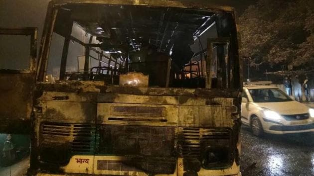 Majority of the bus passengers were women and children who were returning home in Jaitpur after attending a wedding in Faridabad.(Photo: Sourced)