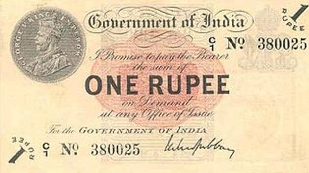 The 1917 one-rupee note.