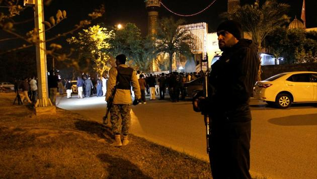 Police and rangers stand guard in Islamabad, Pakistan November 29, 2017. An unmanned aerial vehicle dropped two missiles on a compound housing militants under the command of a senior network commander, Abdur Rasheed Haqqani.(Reuters/ Representative image)