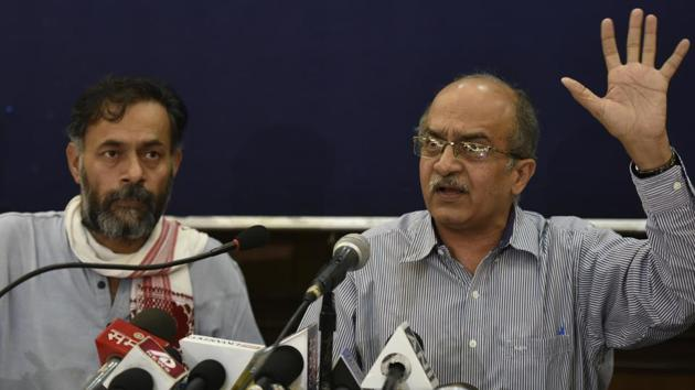 Yogendra Yadav and Prashant Bhushan had formed Swaraj India after being sacked from AAP for alleged anti-patry activities.(Ravi Choudhary/HT PHOTO)
