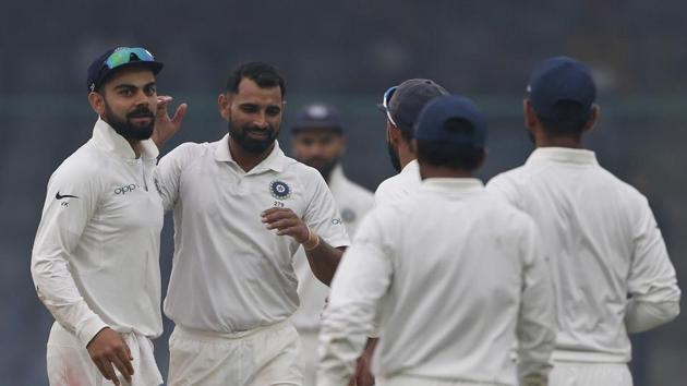 Mohammed Shami celebrates after taking a wicket for India against Sri Lanka on the fourth day of the third Test at Feroz Shah Kotla. Catch full cricket score of India vs Sri Lanka, third Test day 4 here.(AP)