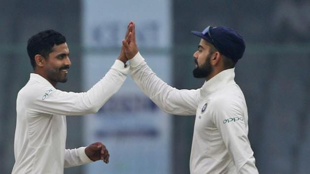 Ravindra Jadeja picked up two quick wickets as Virat Kohli's Indian cricket team stayed on course for a record equalling ninth consecutive series win. Catch highlights of India vs Sri Lanka, 3rd test day 4 here.(AP)