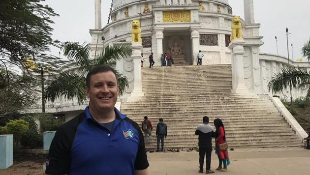 NASA astronaut Jack Fischer on a temple tour in Bhubaneswar.(Jack Fischer's Twitter)