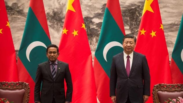 Maldives President Abdulla Yameen and China's President Xi Jinping attend a signing meeting, Great Hall of the People, Beijing, China, December 7, 2017(REUTERS)