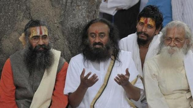 """The National Green Tribunal has held Sri Sri Ravi Shankar's Art of Living """"responsible"""" for causing damage to the Yamuna floodplains by conducting the World Culture Festival in 2016(HT)"""