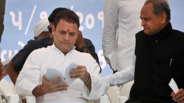 Congress president-elect Rahul Gandhi at an election campaign rally in Anjar, Kutch district, Gujarat, on December 5, 2017.(PTI Photo)