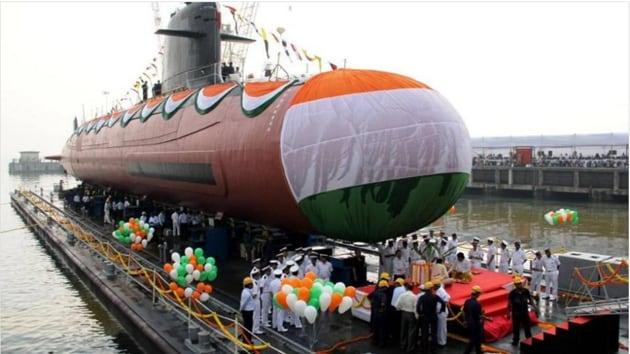 Kalvari sent to the dock for setting afloat to naval dockyard in Mumbai.(Indian Navy website)