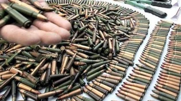 The seizure includes 25 rifles, one machine gun, 19 revolvers and 4,166 live cartridges.(HT File Photo / Pic used for representational purpose)