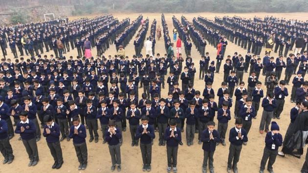 Harcourt Butler Senior Secondary School located at Mandir Marg, New Delhi, is preparing to hold its centenary celebration on December 16.(Raj K Raj/HT PHOTO)