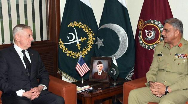 US Defense Secretary James Mattis meeting with Pakistan's army chief Gen. Qamar Javed Bajwa in Rawalpindi, Pakistan, on December 4, 2017.(AP)