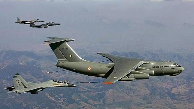 An Indian Air Force IL-78 with fighter aircraft of the US Air Force during joint exercises in 2008. American, Russian, European and Israeli military contractors are tracking the air force's tanker programme.(PTI File Photo)
