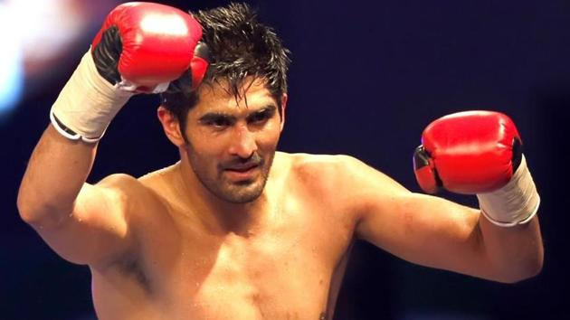 Vijender Singh will face Ernest Amuzu of Ghana in the tenth bout of his professional boxing career in Jaipur.(PTI)