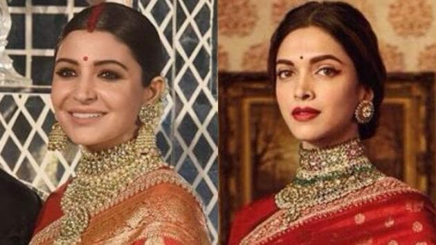 Actor Anushka Sharma wore a red sari by designer Sabyasachi Mukherjee for her wedding reception on Thursday. Actor Deepika Padukone too has a thing for the designer and has opted to wear his designs on many occasions.(Instagram)