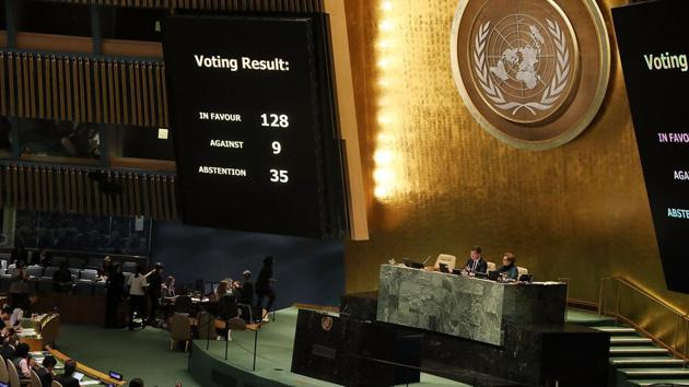 The United Nations General Assembly votes on US's declaration of Jerusalem as Israel's capital.(AFP)