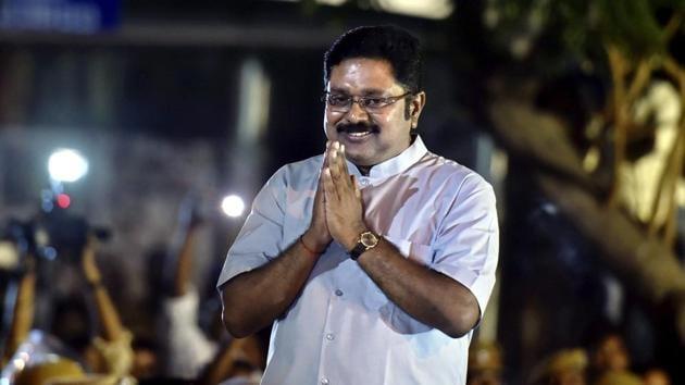 Sidelined AIADMK leader TTV Dhinakaran after winning the RK Nagar bypoll, in Chennai on Sunday.(PTI)