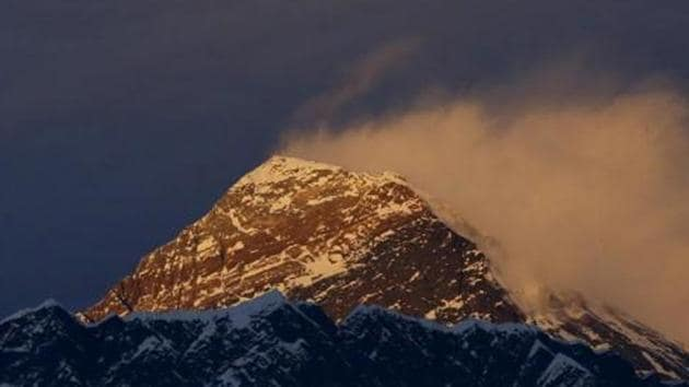 Light illuminates Mount Everest, during sunset in the Solukhumbu District also known as the Everest region, November 30, 2015.(Reuters file photo)