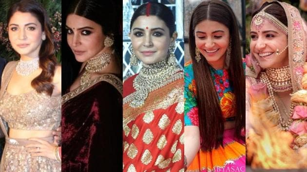 Scroll down for a refresher on actor Anushka Sharma's impressive bridal looks, and prepare to swoon over all over again.(Instagram)
