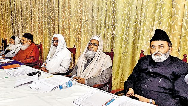 All India Muslim Personal Law Board members during a meeting on issue of triple talaq in Lucknow on December 24.(PTI)