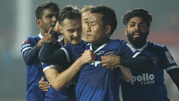 Jeje Lalpekhlua of Chennaiyin FC celebrates the winning goal of the Indian Super League match vs Jamshedpur FC at the JRD Tata Sports Complex, Jamshedpur on the 28th December.(ISL / SPORTZPICS)