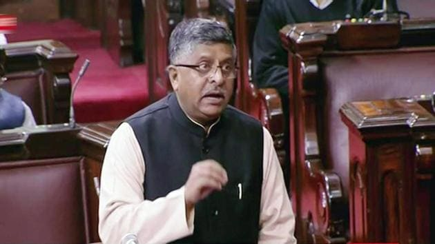 Minister for Electronics and IT Ravi Shankar Prasad speaks in the Rajya Sabha in New Delhi on Friday, during the ongoing winter session of Parliament.(PTI)