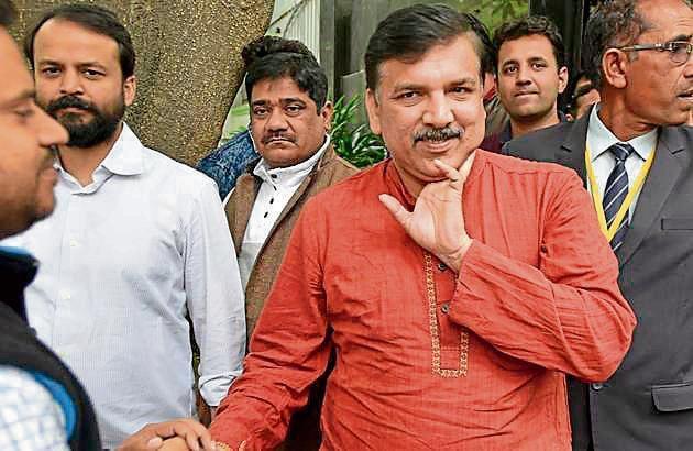 AAP leaders Sanjay Singh is one of the three nominees for the three Rajya Sabha seats in Delhi.(Ravi Choudhary/HT PHOTO)